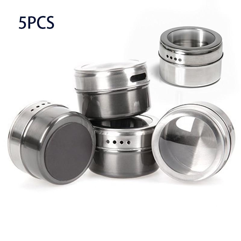 5 pz/set Spezie Magnetico Scatole di Stoccaggio In Acciaio Inox Contenitore di Vasi Coperchio