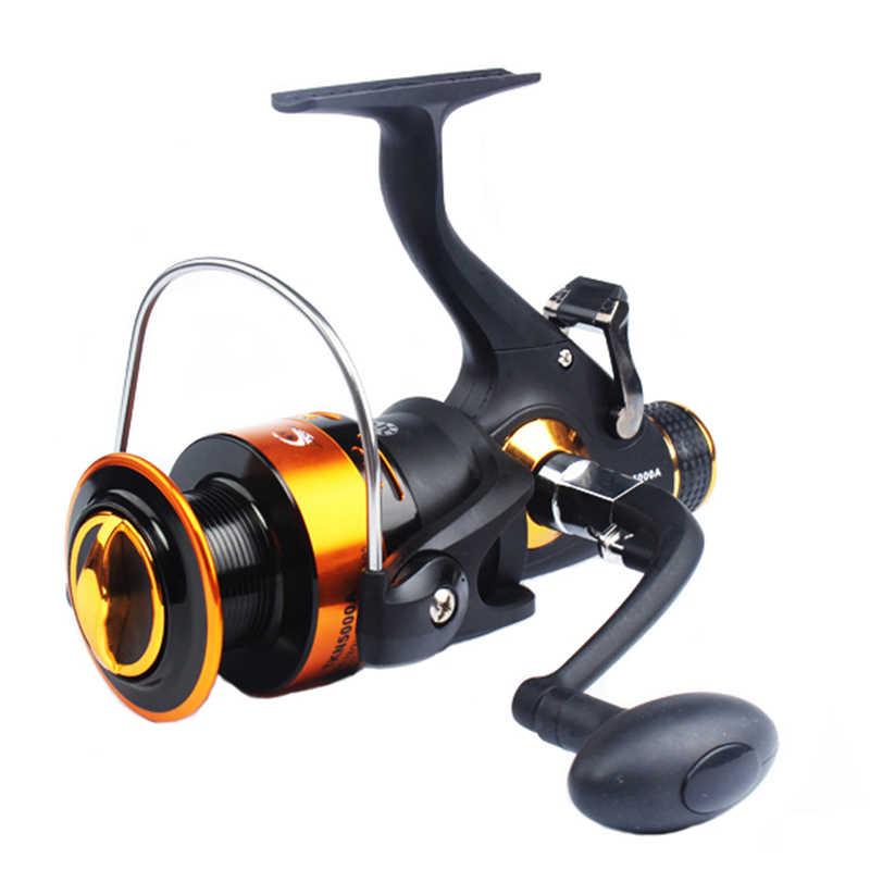 2018 Novo Design de Freio Duplo Carretel De Pesca Super Forte linha de Pesca Da Carpa Alimentador Molinete roda de Fiar Haste De Combinação