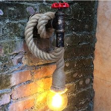 цена на Vintage E27 Iron Rust Water Pipe Wall Lamp Loft Industrial Wind Hemp Rope Wall Light For Living Room Bedsides Cafe Restaurant