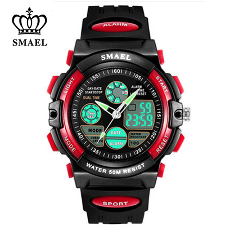 SMAEL Children Watches Cute Kids Watches Sports Cartoon Watch For Girls Boys Rubber Children's Digital LED Wristwatches Relo