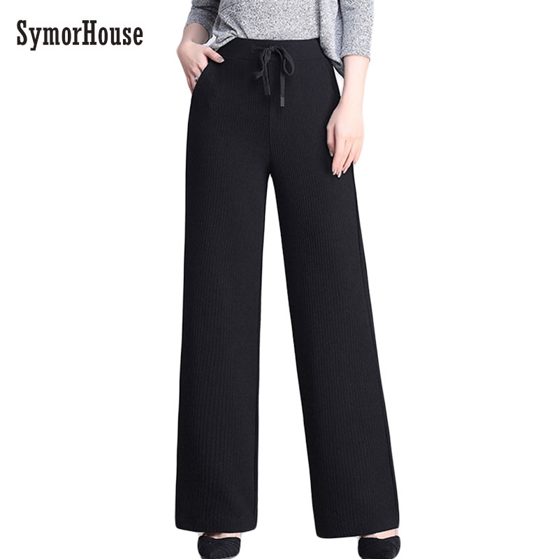 2019 New Korean Section Fashion Women Trousers Autumn Spring knitted   Wide     Leg     Pants   Elastic High Waist Female Casual Loose   Pant