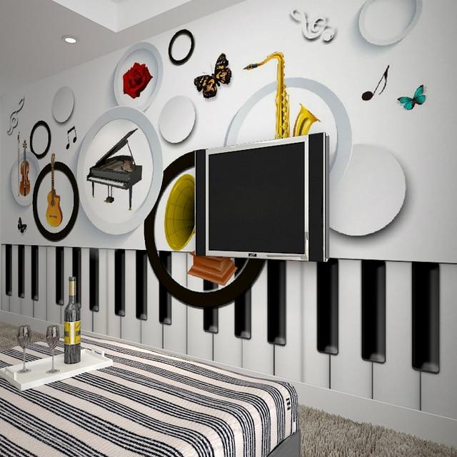 Free Shipping Modern Minimalist Music Keys Wallpaper Mural