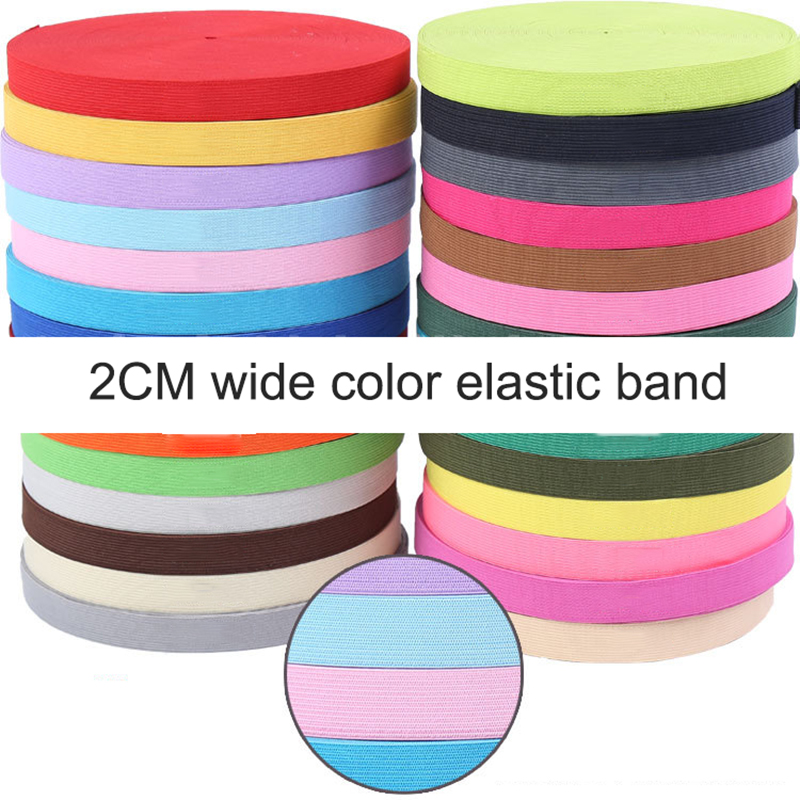 2M/lot 20MM Colorful Flat Sideband Elastic Bands Sewing Accessories Wedding Garment Elastic Tape For DIY Maternity Underwear