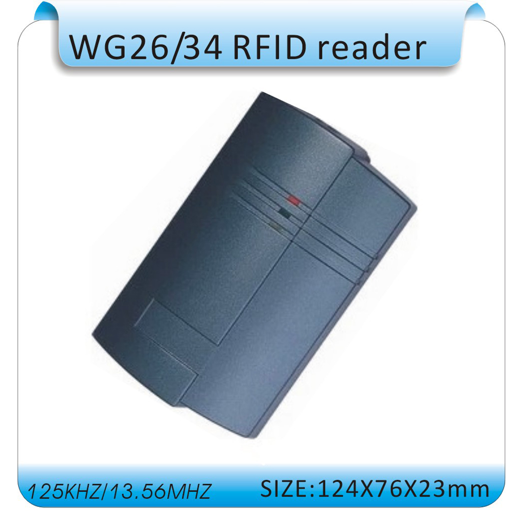 125KHZ /13.56MHZ wg26/34 RFID reader Id access control card reader/ IC card reader DC9-15V waterproof rfid id card reader access control system identification card reader with wg26 34 for home security f1741a