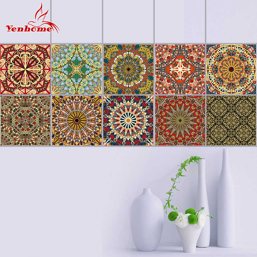10pcs Diy Mosaic Tile Decals Bathroom Waterproof Pvc Self Adhesive Wallpaper Border Kitchen Backsplash Wall Stickers Home Decor