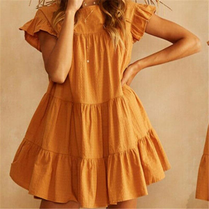 Женское платье-мини, летнее, повседневное, свободное, многослойное, однотонное, коктейльное, Пляжное, без рукавов