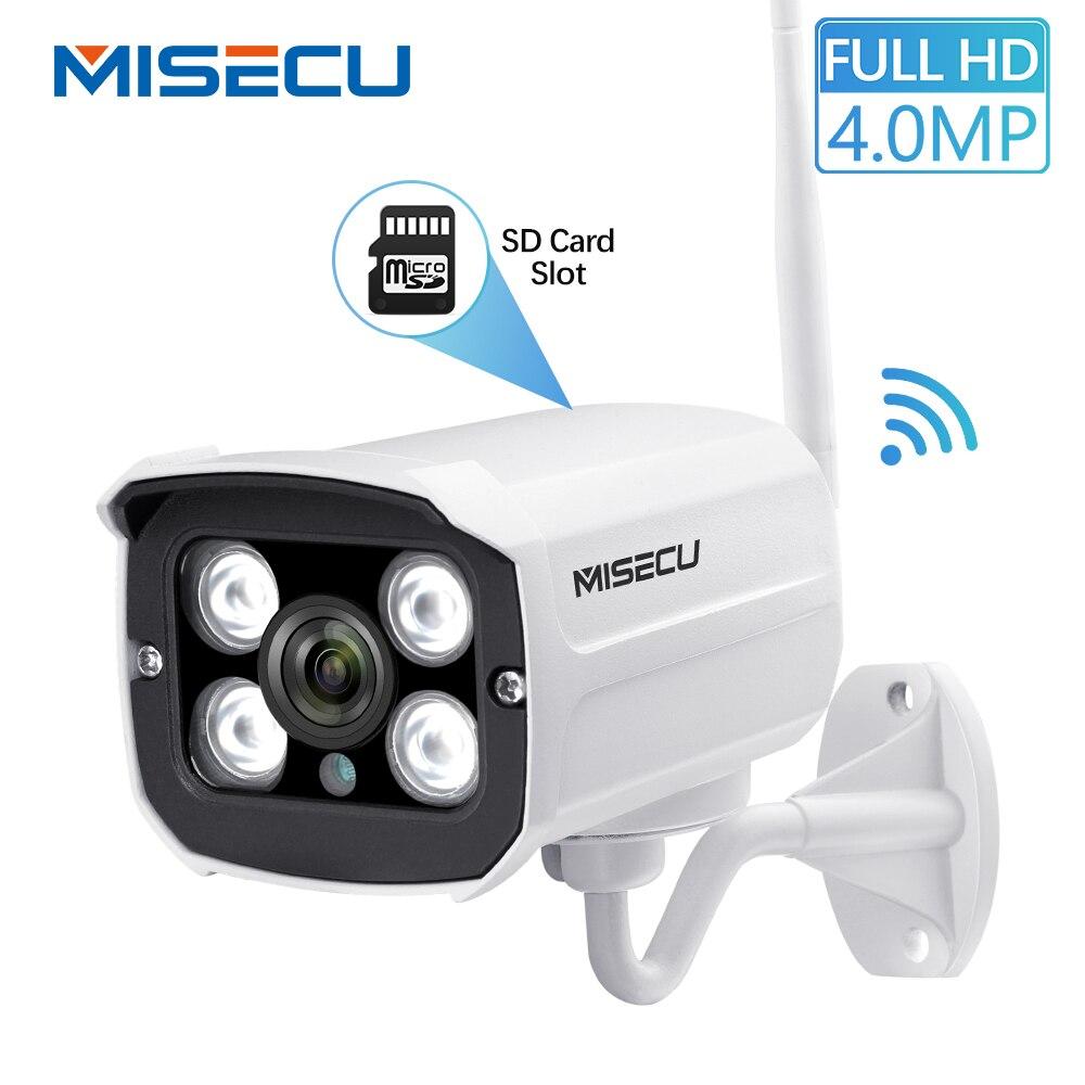 MISECU 4.0MP IP Cámara Wifi H.264 inalámbrica Onvif 2560*1440 P P2P ranura para tarjeta TF de correo electrónico a la noche IR impermeable IP66