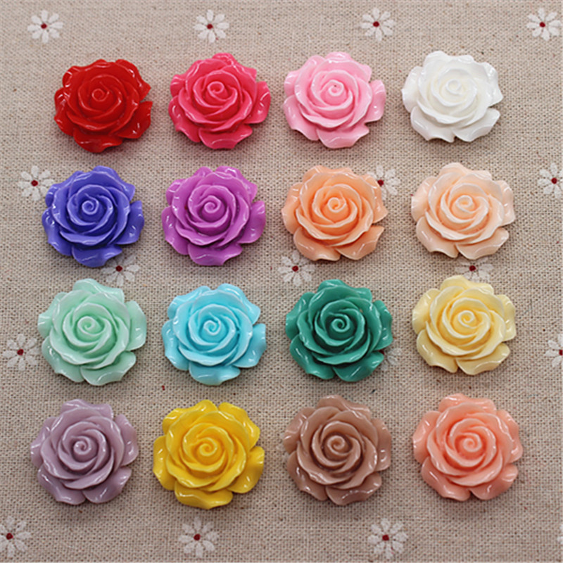 10pcs 28mm Resin Camellia Flower Flatback Cabochon DIY Scrapbooking Decorative Craft Making,15 Colors To Choose