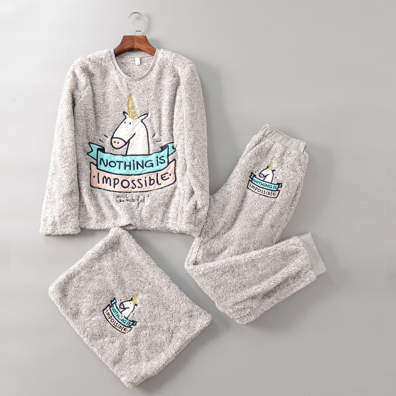 2017 Brief fashion fleece thickening unicorn emboridery thermal home women   pajama     set
