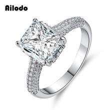 Ailodo Luxury Square Wedding Engagement Rings For Women Cubic Zirconia Silver Color Exquisite Bijoux Fashion Jewelry Gift LD157