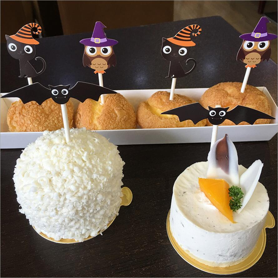 Us 231 30 Off24 Pcsset Halloween Tema Kucing Kartun Burung Hantu Kelelawar Cupcake Topper Kue Bendera Untuk Pesta Ulang Tahun Baby Shower