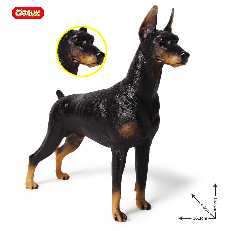 Oenux Lifelike Animals Doberman Pinscher Simulation Animal Model Guard Dog Action Figures High Quality Collection Toys For Kids new lps lovely toys animal cartoon cat dog action figures collection kids toys gifts