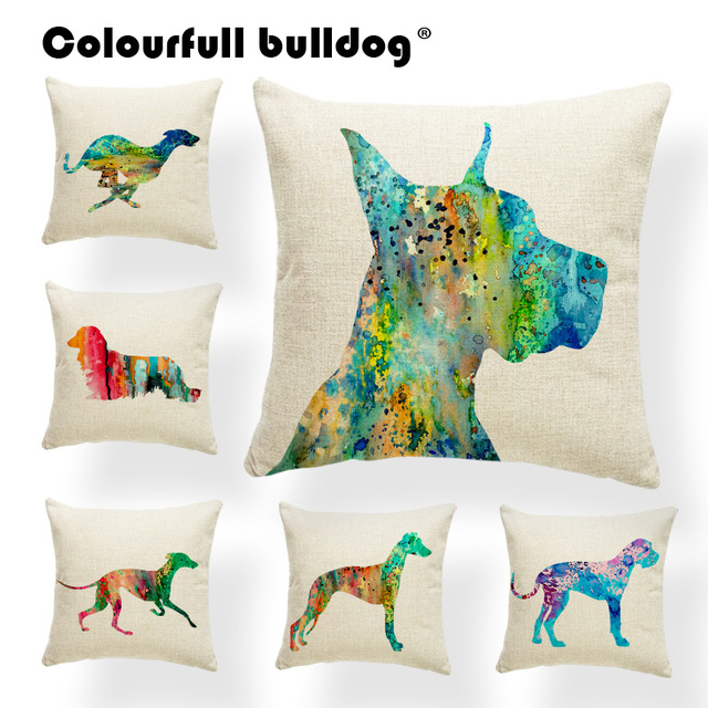 Us 3 03 20 Off Dropshipping Colorful Greyhound Throw Pillows Great Dane Long Haired Dachshund Cushion Cases Schnauzer 17 17in Square Pillowcase In