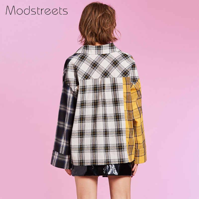 Modstreets 2019 Spring Shirt Women Plaid Shirt Cotton Long Sleeve Patchwork Blouse for Girls Korean Top Streetwear Brand Shirt