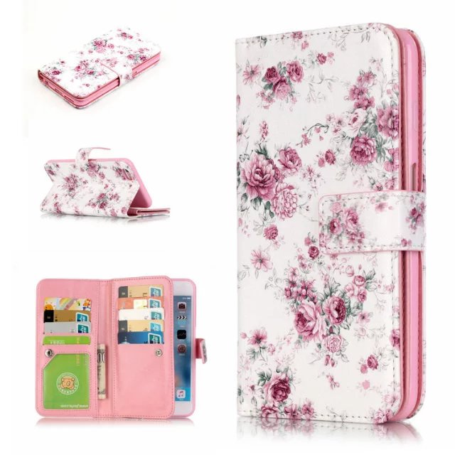 For iphone6s 6plus 5s se 5 rose Pattern Luxury PU Leather Stand Wallet Flip Cover case for iPhone 7 with nine Card Slots