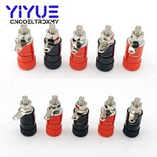 10pcs 4mm Banana Socket Nickel Plated Binding Post Nut Plug Jack Connector Red + Black