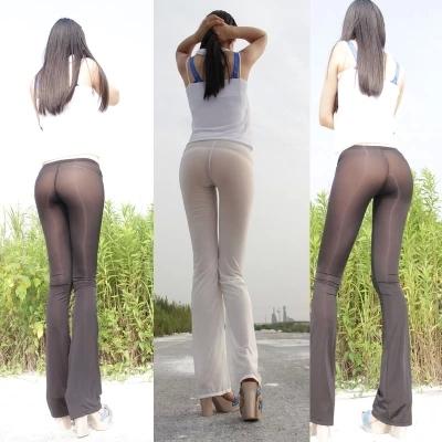 New ice silk sexy ver através mulheres capris calças sexy roupa interior transparente sheer longo flare casual brilhante brilhante leggings