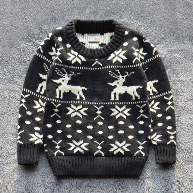 Niños Sweaters baby boys niña 100% algodón suéter caliente 2015 nuevo otoño invierno Pullover suéter de los cabritos ropa 2-7Y buena calidad