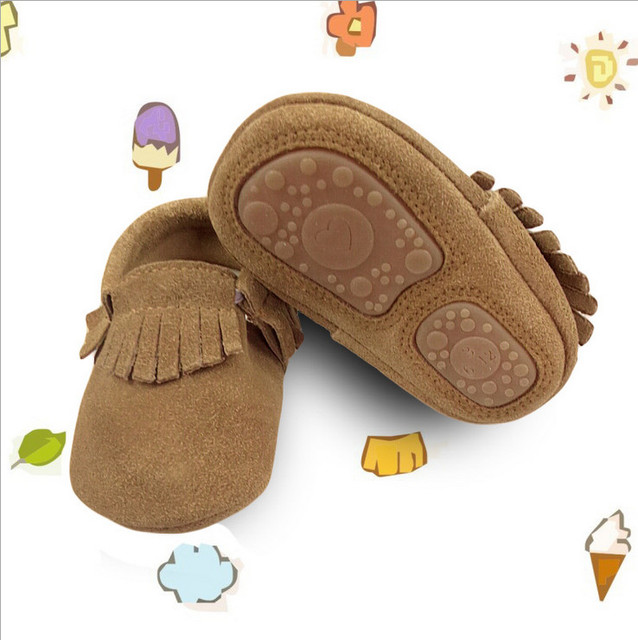 c98ecdad01e22 Brown hard sole baby moccasins tassel moccs kids walker shoes fringe shoes  toddler shoes whole shoes