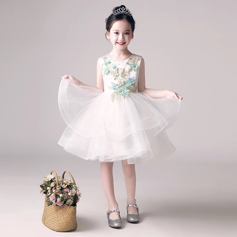 Elegant Sweet Girls Flowers Mesh Dress Children Kids Wedding Birthday Party Dresses Evening Ball Gowns Formal Party Dress Wear