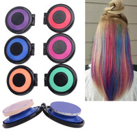 Professional 6 Colors Temporary Hair Color Hair Dye Powder Cake Styling Hair Chalk Set Non Toxic