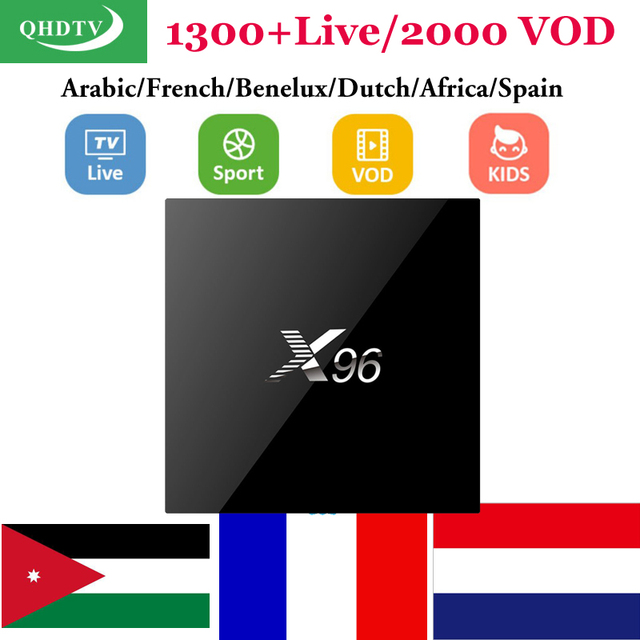 Europe IPTV Receiver Smart tv box X96 with 1 year free QHDTV iptv french support VOD movies Africa Channels arabic iptv box