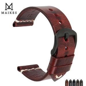 Image 1 - MAIKES בציר פשוט אמיתי עור אביזרי שעון 20mm 22mm 24mm להקת שעון כסף & שחור פלדת אבזם רצועת צמידים