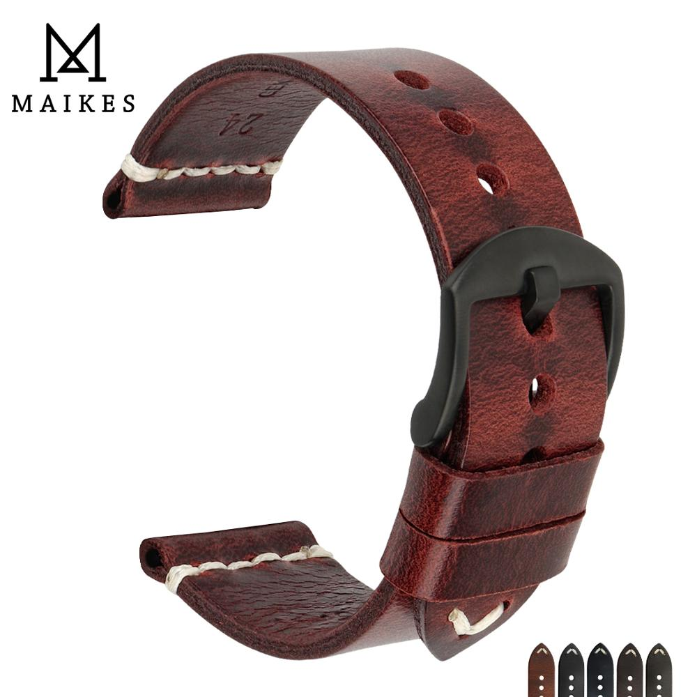 MAIKES Vintage Simple Genuine Leather Watch Accessories 20mm 22mm 24mm Watch Band Silver & Black Steel Buckle Strap Bracelets