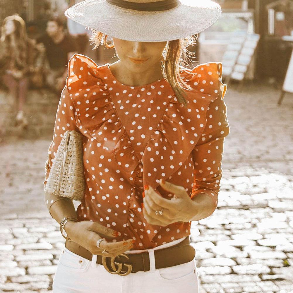 Summer Womens Boho Beach Casual Tops and Blouses elegant Short Sleeve Polka Dot Ruffles shirt Ladies blusa feminina dames ropa