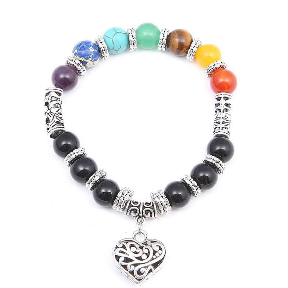 2017 Newst 7 браслет чакра мужская Черная Лава бусины с энергией исцеления и гармонии рейки молитва Будды натуральный камень Йога браслет для женщин