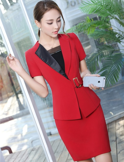 acd2031f05 Summer Short Sleeve Work Blazers Suits With Jackets And Skirt Ladies Office  Business Women Plus Size