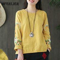 Mferlier Women Summer Cotton Linen Blouse Women O Neck Embroidery Long Sleeve Split Hem Loose Casual Ladies Tops
