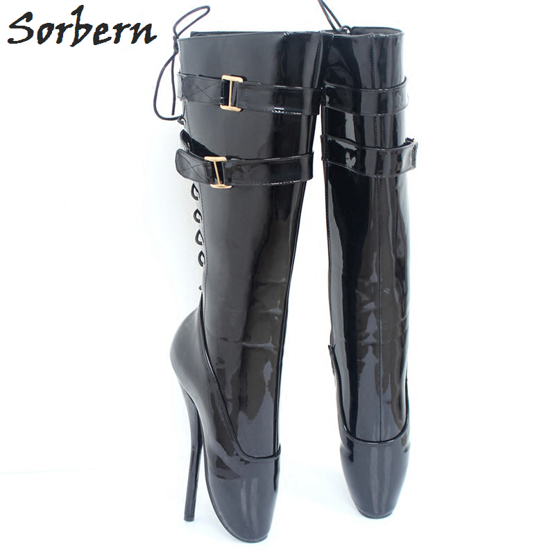 Sorbern 18CM/7'' High Thin Heels Women Boots Plus Size Unisex Party Shoes Buckle Strap Custom Made Unisex Dance Boots Women batman suicide squad harley quinn movie cosplay costumes shoes boots high heels custom made for adult women halloween party