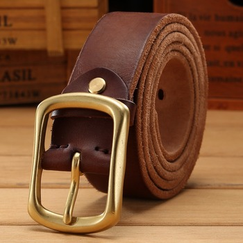 solid brass buckle 2018 full grain 100% genuine leather mens belts luxury hot designer high quality womens cowboy brown natural