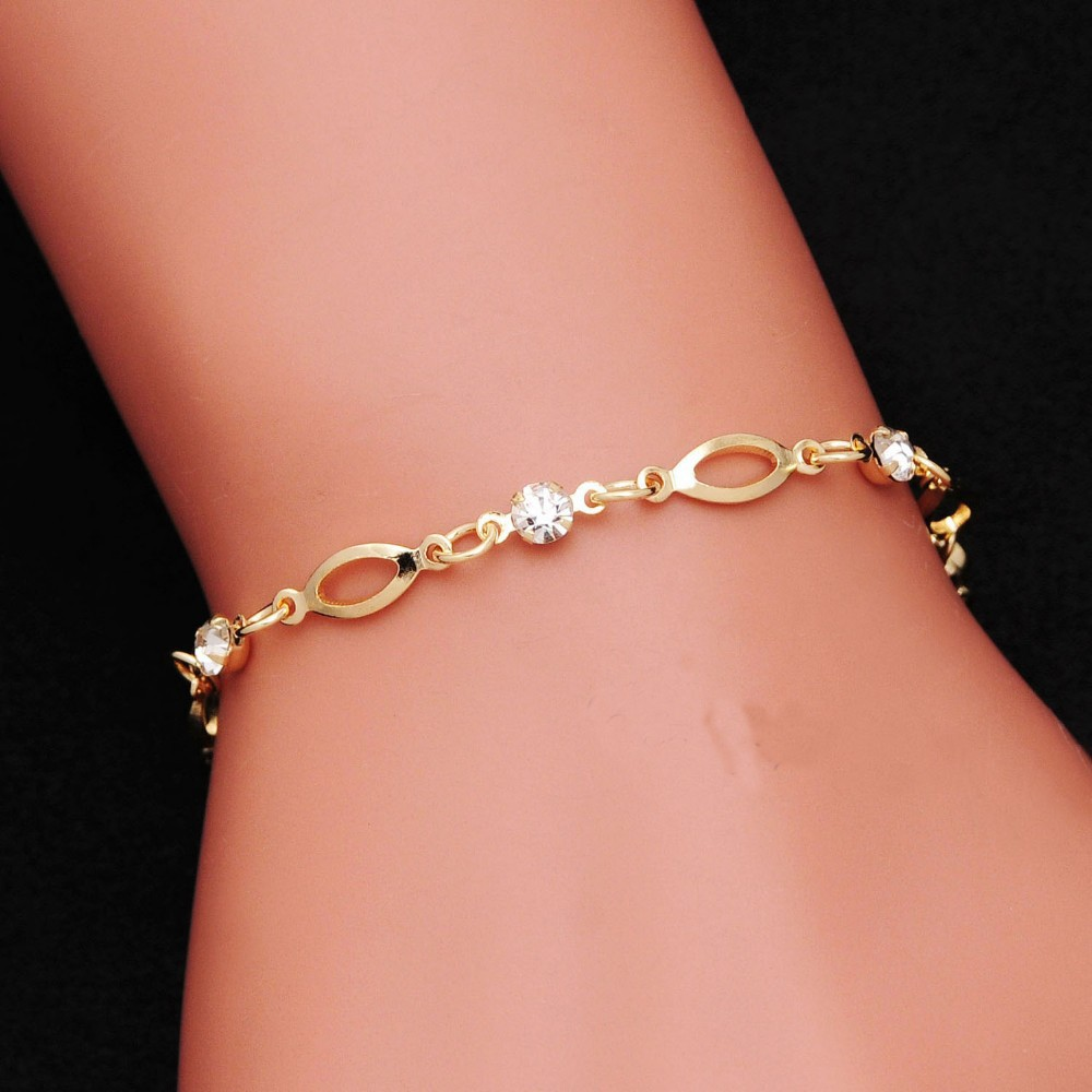 18 Fashion Crystal Charm Bracelets for Women Gold Color Link Chain Cuff Bracelet Bangles Jewelry pulseras valentines day gift 3