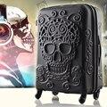 20,24, 28 Polegada Spinner bagagem Mala de Viagem Da Roda marca original do crânio 3d