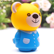 Mini Bear Tiger LED Night Light Cartoon Animal Lamp AC 110V 220V Bedroom Bedside for Children Kids Baby Gift US Plug