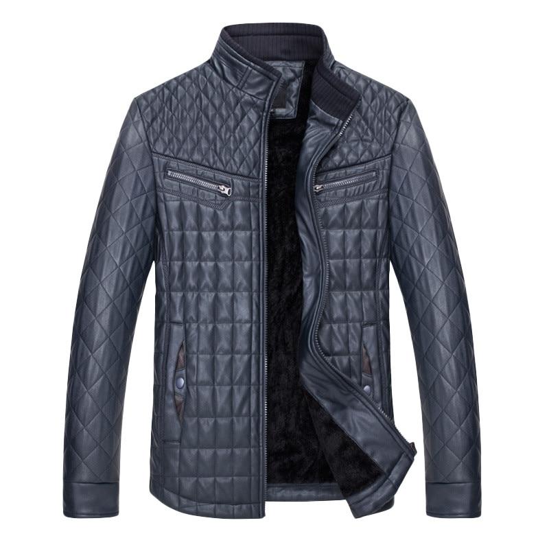 Top marron En Cuir Outwear Zipper Noir bleu Mode Hiver Automne Hommes Manteau Thermique Vérifier Vêtements Veste Mâle vN8nwm0