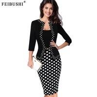 Feibushi mulheres primavera retro faux jaqueta one piece-polka dot patchwork contraste vestir para trabalhar escritório de negócios bainha dress
