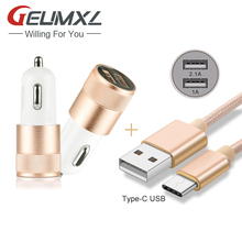 2-Port Smart USB Quick Car Charger + Type C USB Cable for Oneplus 3 3T/LG G5 /Nexus 6P 5X /Elephone P9000 M3 /Huawei P9 Plus P10