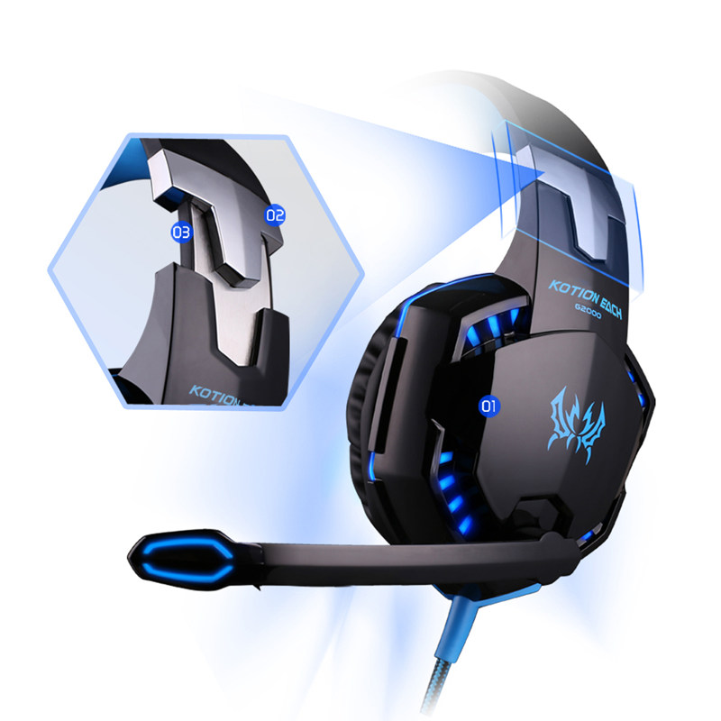 KOTION EACH G2000 Earphone Gaming Headset Gamer PC Headphhone Gamer Stereo Gaming Headphone with microphone Led For Computer each g8200 gaming headphone 7 1 surround usb vibration game headset headband earphone with mic led light for fone pc gamer ps4