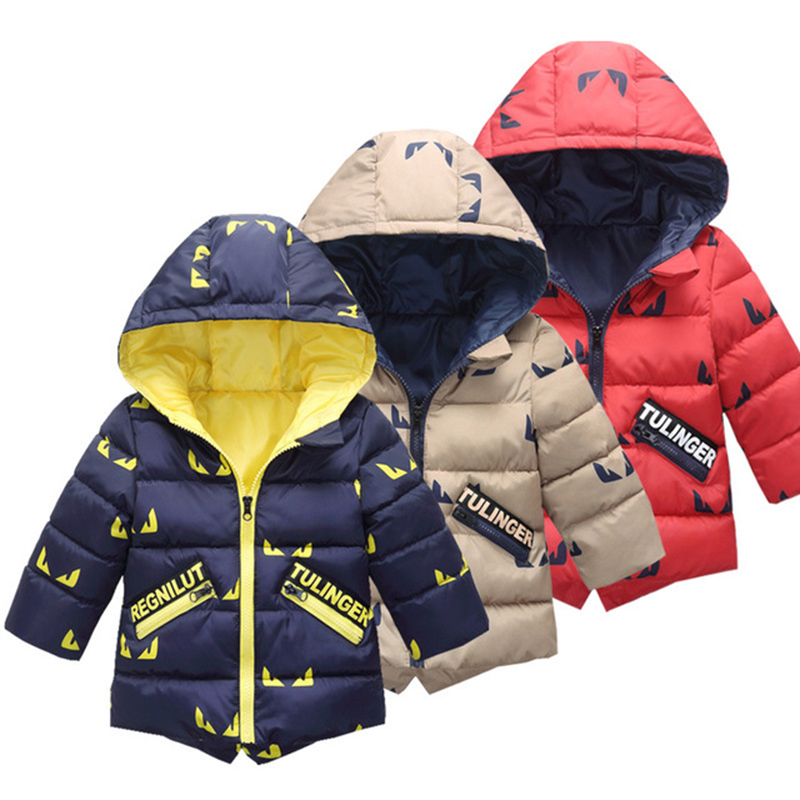 Kids Jacket Winter Boy 2019 Fashion Hooded Thick Warm Cotton Outerwear Boys Print 2-7 Years Korean Clothes Coats Jacket(China)