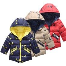 Bambini Giacca Invernale Ragazzo 2019 di Modo Con Cappuccio Spessore Caldo Cotone Della Tuta Sportiva Dei Ragazzi di Stampa 2 7 Anni Vestiti Coreani Cappotti giacca