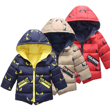 Crianças jaqueta de inverno menino 2019 moda com capuz grosso quente algodão outerwear meninos imprimir 2 7 anos roupas coreanas casacos jaqueta
