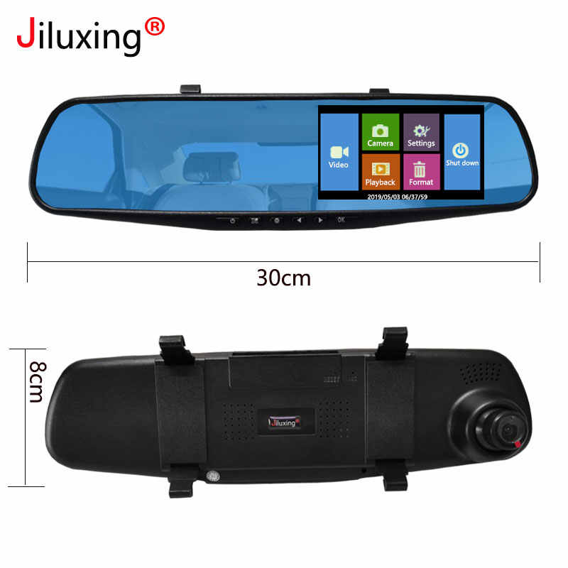 Jiluxing جهاز تسجيل فيديو رقمي للسيارات 1080P اللمس شاشة سيارة بعدسة مزدوجة كاميرا مرآة مسجل فيديو مرآة الرؤية الخلفية DVR داش كاميرا السيارات كاميرا