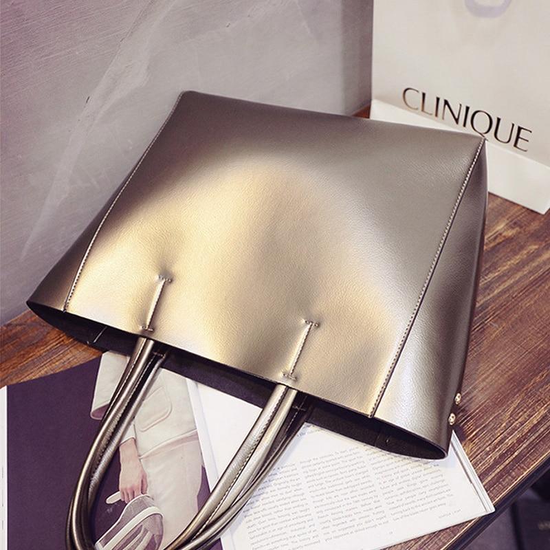 Cuir silver Sacs Femmes Casual Bandoulière Luxe gold Main Femme Pu Fille Mode Seau Marque Dames Pour À De En Black rxdBoCe
