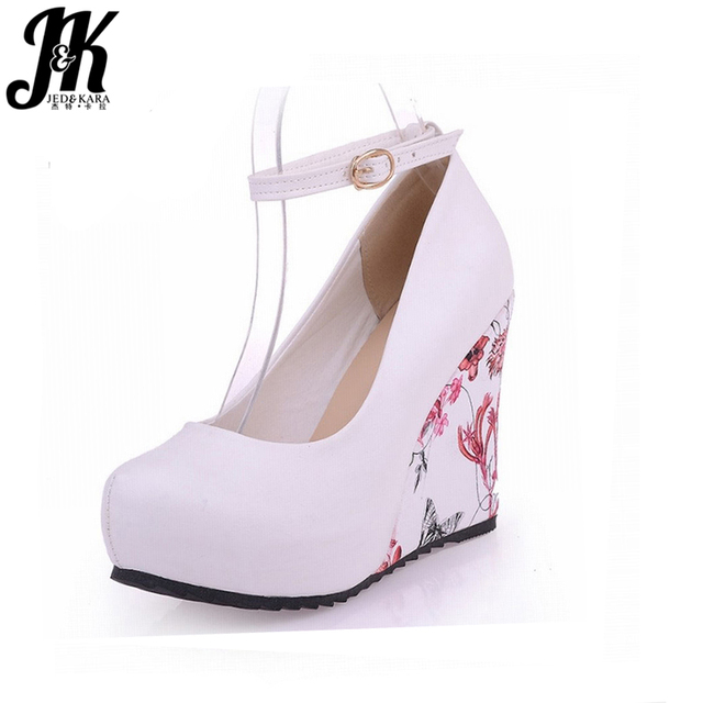2017 Fashion Ankle Strap High Wedges Pumps Platform Summer Pumps For Women Casual Dress Elegant Flower Print Platform Shoes