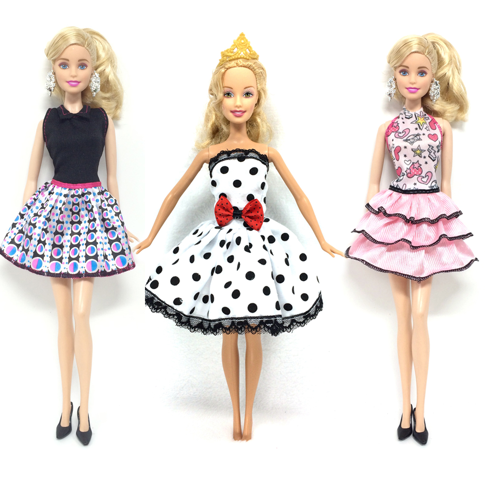 NK 3 Set/Lot Hot Sell  Princess Doll Dress For Barbies Dolls Summer Doll Clothing Mini Doll Best Dress Gifts for Girls