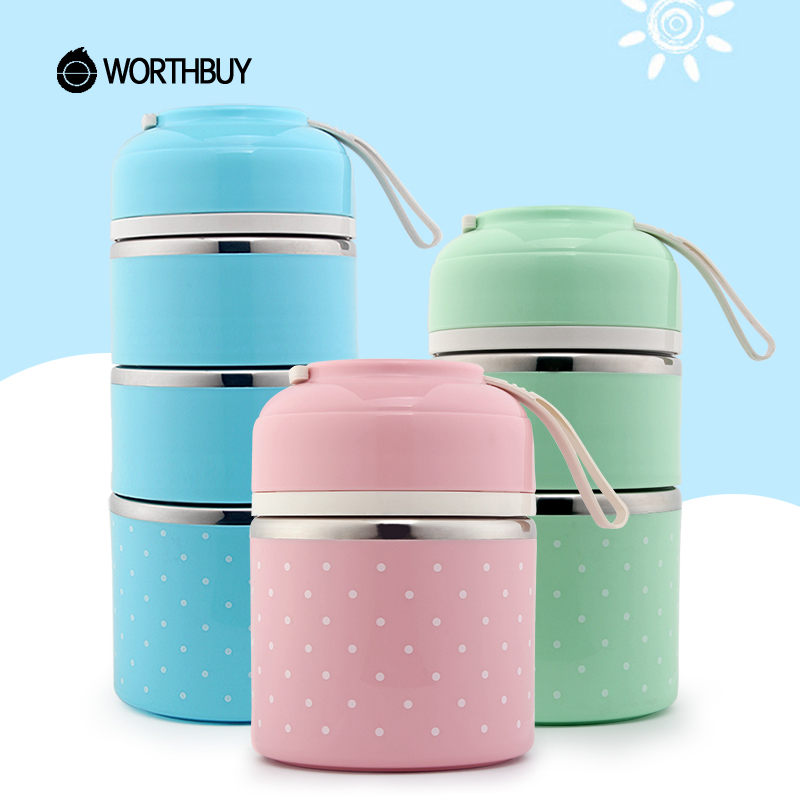 WORTHBUY Drop Verschiffen Japanischen Thermische Lunchbox Für Kinder Tragbare Lebensmittel Container Küche Dicht Edelstahl Bento Box