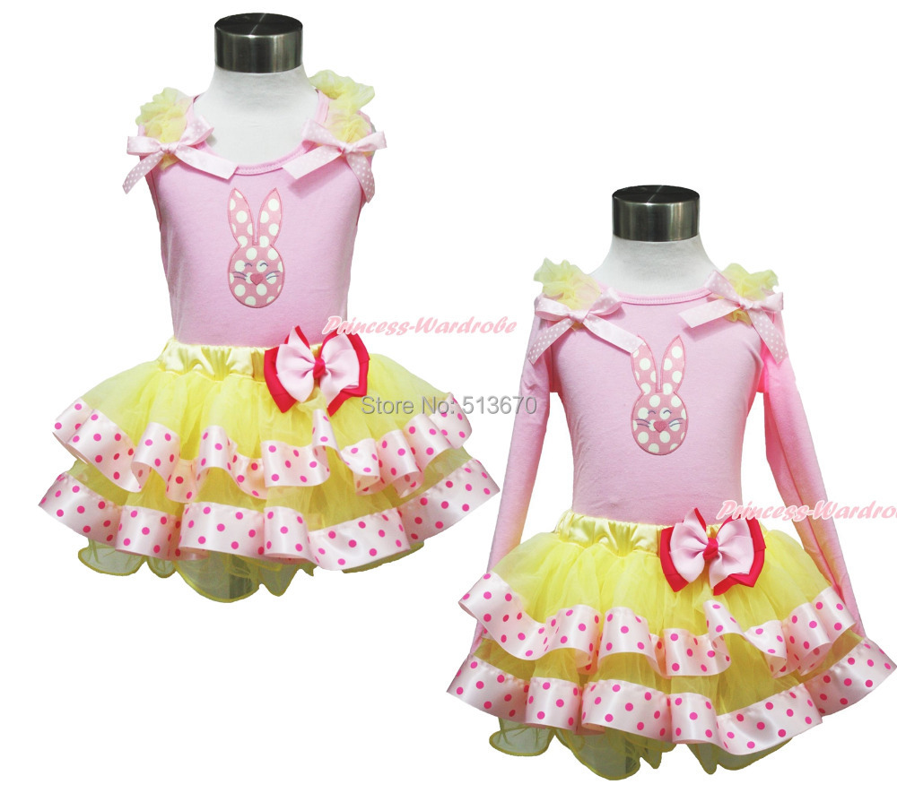 ФОТО Easter Pink White Dot Bunny Pink Top Yellow Satin Trim Girl Pettiskirt Set 1-8Y MAPSA0406